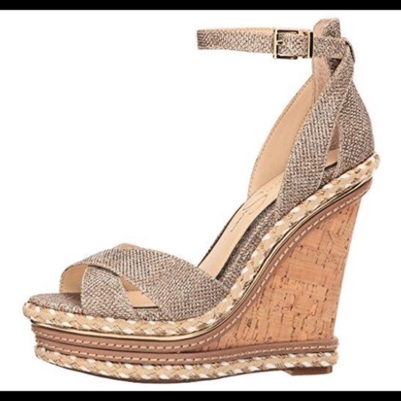 7d53ef9b9e Jessica Simpson Shoes | Womens Ahnika Gold Wedge Sandal | Poshmark